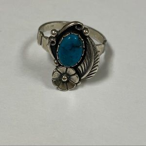 RING STERLING SILVER TURQUOISE SOUTHWESTERN STYLE